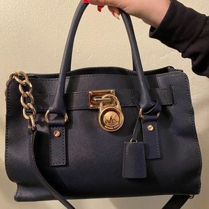 Michael Kors navy blue medium Hamilton bag